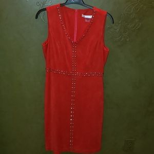 Red Peter Nygard Suede Dress/Jumper Size 6